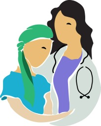 1307966-sketched-red-haired-white-female-doctor-caring-for-a-young-cancer-patient-poster-art-print
